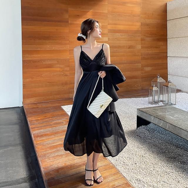 【女神婚紗禮服店】黑色V領雪紡無袖吊帶洋裝 提貨券(黑色洋裝 雪紡洋裝 無袖吊帶)