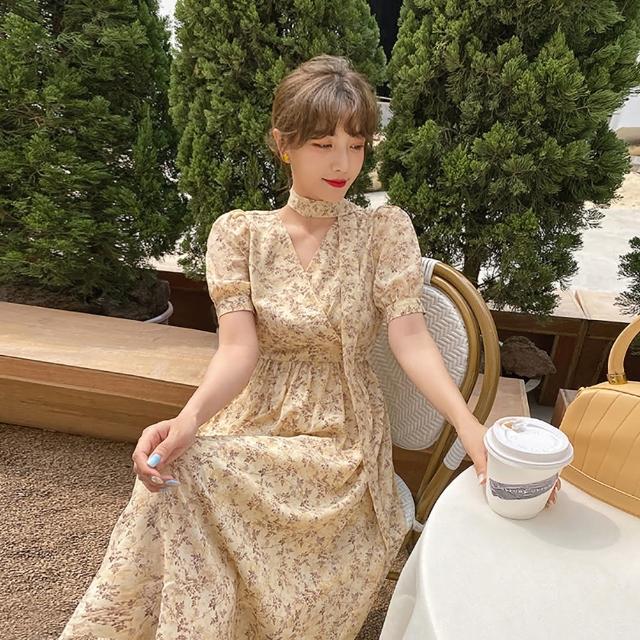 【女神婚紗禮服店】小麥黃雪紡V領短袖洋裝 提貨券(小麥黃洋裝 雪紡洋裝 小禮服)