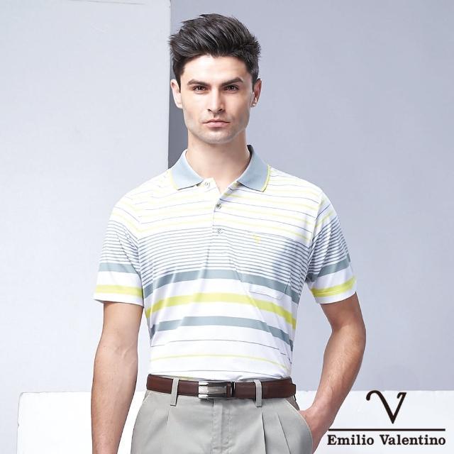 【Emilio Valentino 范倫鐵諾】都會休閒經典條紋POLO衫_灰/黃/白(21-1V5819)