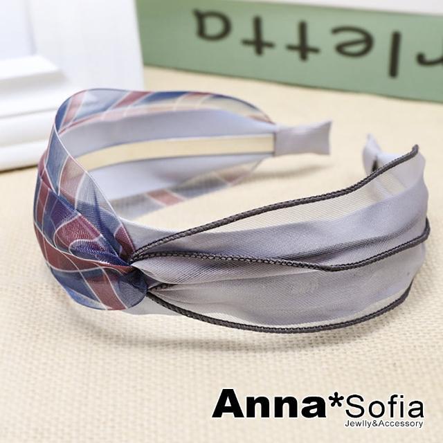 【AnnaSofia】韓式髮箍髮飾-透紗層拼彩格璇結(灰系)