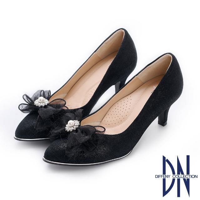 【DN】晚宴鞋_MIT真皮珍珠蝴蝶結尖頭跟鞋(黑)