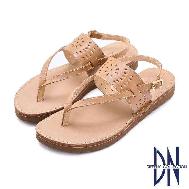 【DN】涼鞋_MIT真皮雕花夾腳造型平底涼鞋(棕)