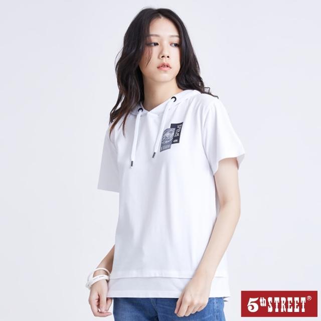 【5th STREET】女假兩件衛星圖連帽短袖T恤-白色