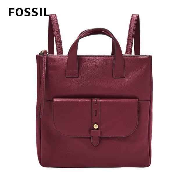 【FOSSIL】Hunter 真皮簡約後背包-咖啡紅色 SHB2695599