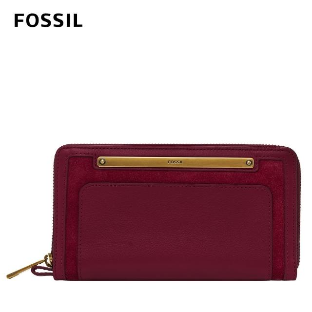 FOSSIL【FOSSIL】Liza 真皮拉鍊式長夾-莓果紫色 SL6472653