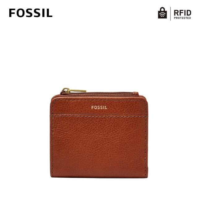 【FOSSIL】Jori 真皮零錢袋RFID防盜短夾-咖啡色 SWL3012210