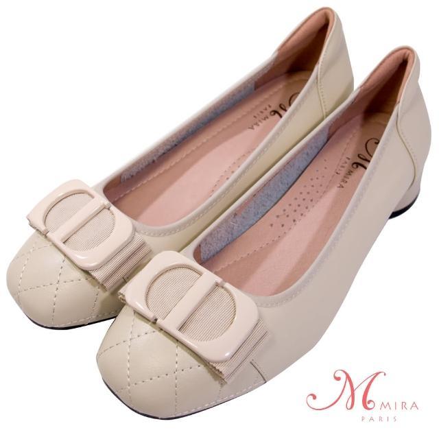 【MIRA】小香風手縫菱格線方頭真皮低跟鞋-米白色-W18472N09(淑女鞋/菱格紋/真皮/小香風)
