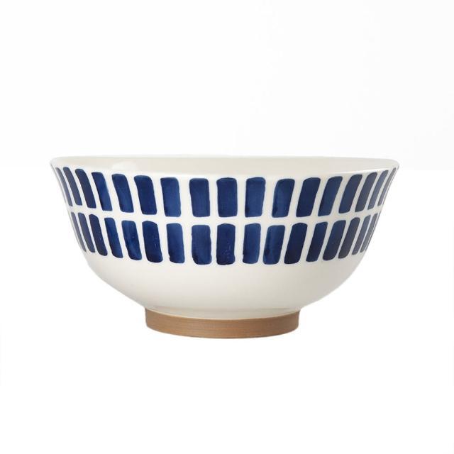 【Royal Duke】復古手繪藍彩系列-6.5吋碗-方塊(復古 彩繪 條紋 樹枝 方塊 陶瓷 小碗 飯碗)