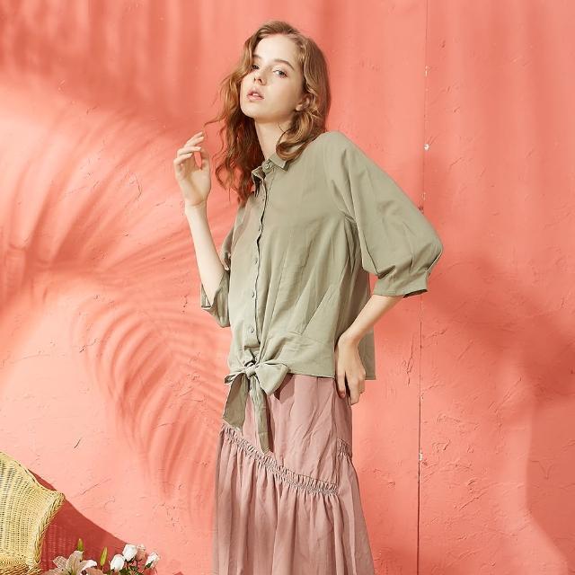 【CUMAR】下襬綁結設計休閒-女七分袖襯衫(二色/版型適中)