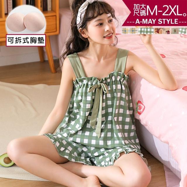 【Amay Style 艾美時尚】加大碼居家服-清新格紋印花吊帶睡衣。加大碼M-2XL(附可拆式胸墊.4色預購)