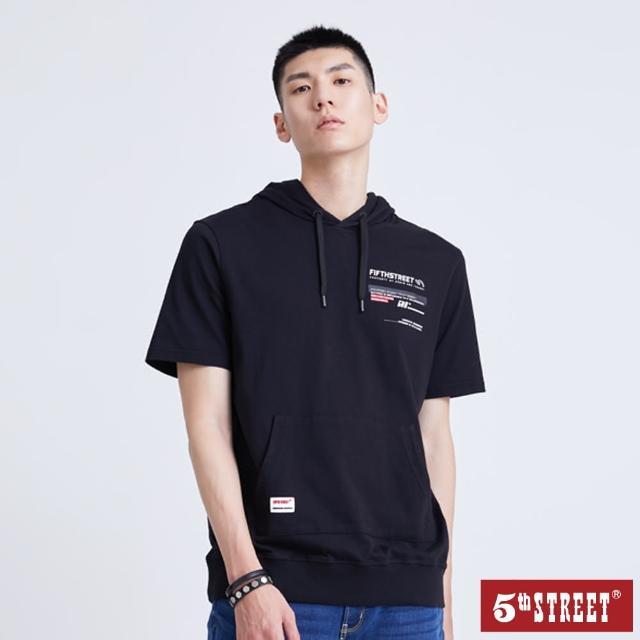 【5th STREET】男破損貼條口袋連帽短袖T恤-黑色