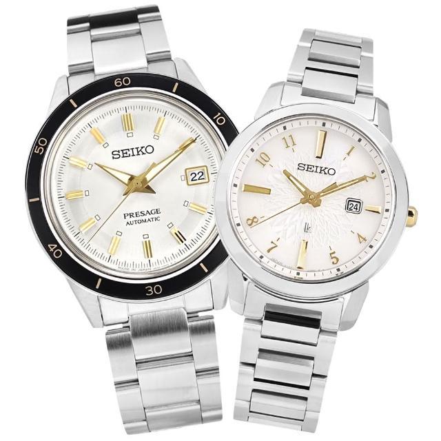 【SEIKO 精工】永恆經典 浪漫戀人 日期 不鏽鋼手錶 情人對錶 銀白色 41mm+31mm(4R35-05A0S.V137-0DK0KS)