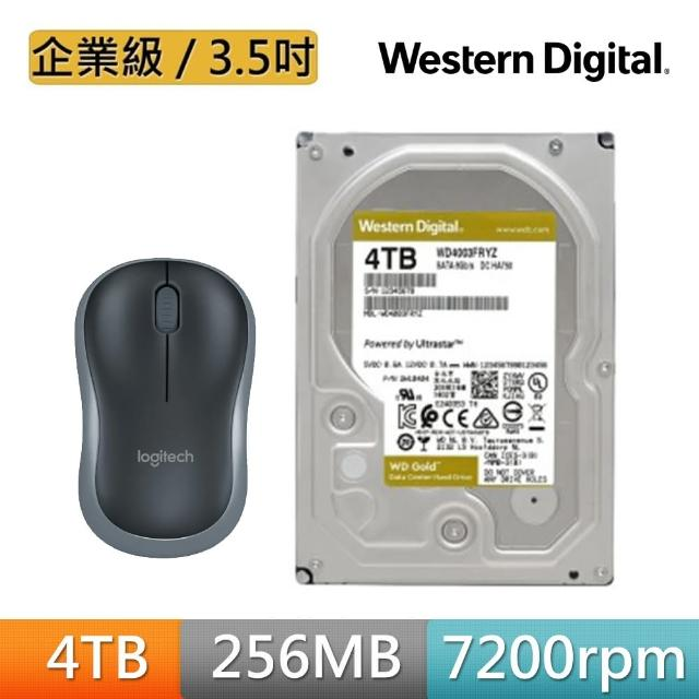 【送無線滑鼠】WD 威騰 金標 4TB 企業級 3.5吋 SATA硬碟(WD4003FRYZ)