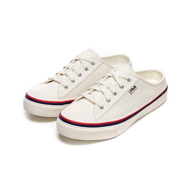 【FILA】男女款 帆布鞋 穆勒鞋 SCANLINE MULE 帆布穆勒鞋-米白(4-C622V-100)