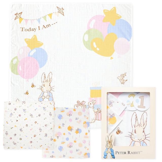 【奇哥】比得兔寶寶成長紀錄紗布巾禮盒(大包巾+方巾2入+生日卡12入)