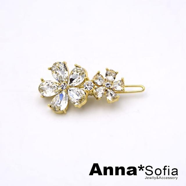 【AnnaSofia】髮夾髮飾扣夾小邊夾-沁晶輕奢雙晶花(金系)