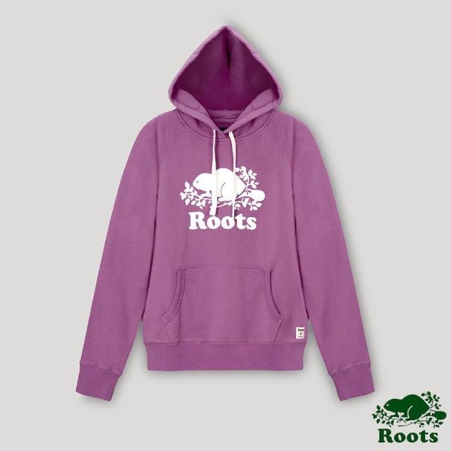 【Roots】Roots女裝- 經典海狸LOGO連帽上衣(蘭花紫)