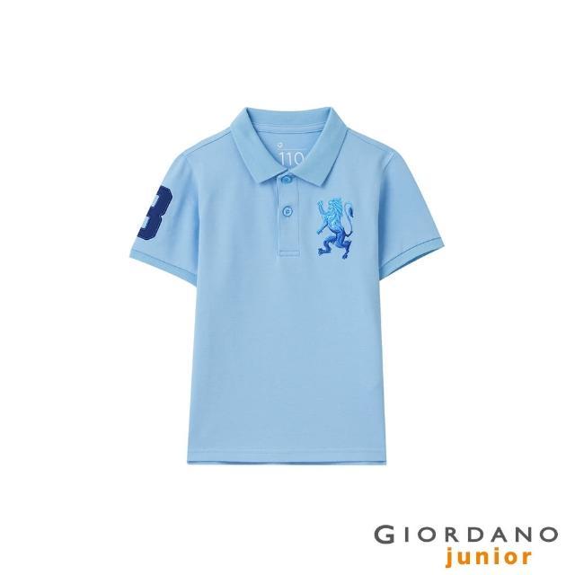 【GIORDANO 佐丹奴】童裝勝利獅王素色彈力萊卡POLO衫(11 粉蠟藍)