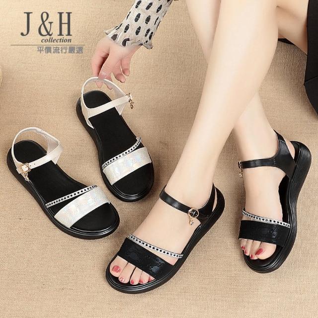 【J&H collection】簡約百搭鬆糕鞋底真皮涼鞋(現+預 黑色 / 白色)