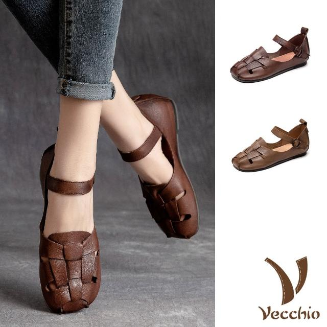 【Vecchio】真皮涼鞋 編織涼鞋/全真皮頭層牛皮復古經典魚骨編織造型羅馬涼鞋(2色任選)
