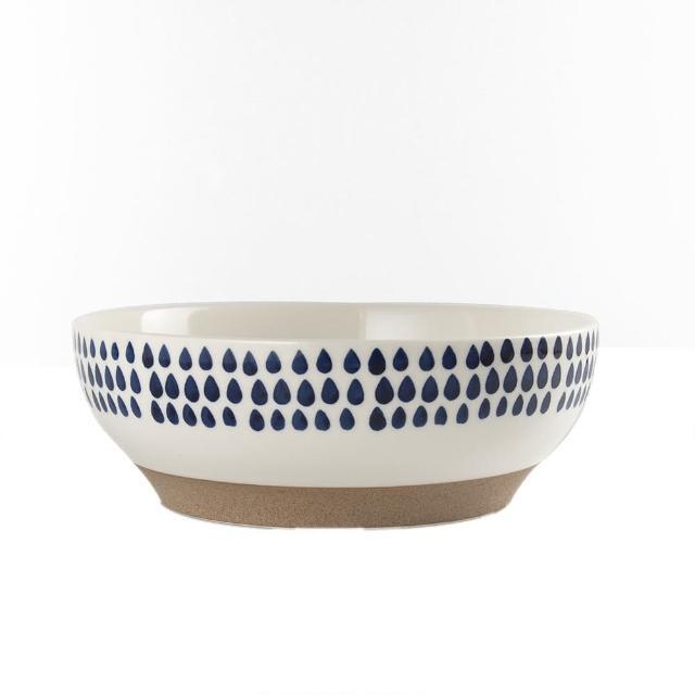 【Royal Duke】復古手繪藍彩系列-8吋碗-雨點(復古 彩繪 圓點 陶瓷 小碗 飯碗)