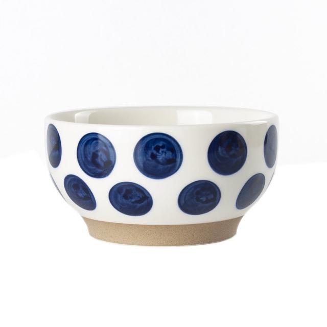 【Royal Duke】復古手繪藍彩系列-6吋碗-波點(復古 彩繪 圓點 陶瓷 小碗 飯碗)