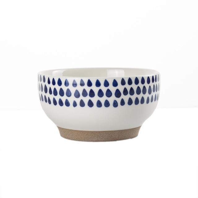 【Royal Duke】復古手繪藍彩系列-6吋碗-雨點(復古 彩繪 圓點 陶瓷 小碗 飯碗)