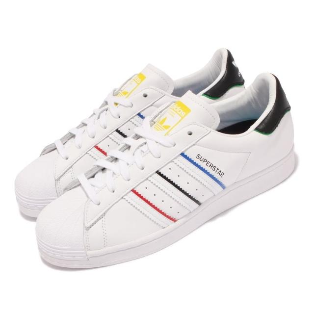 【adidas 愛迪達】休閒鞋 Superstar 經典款 運動 男鞋 愛迪達 貝殼頭 奧運五環色 穿搭 白 彩(FY2325)