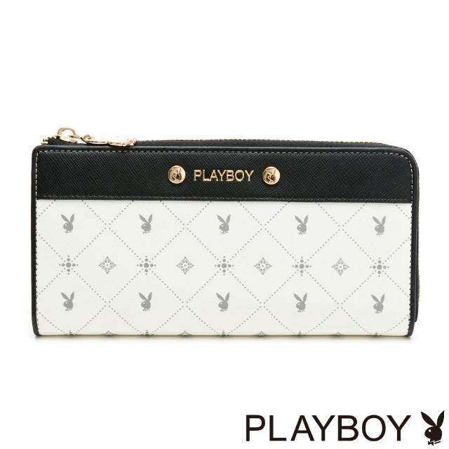 【PLAYBOY】L拉長夾 白色黑晶兔系列(米白色)