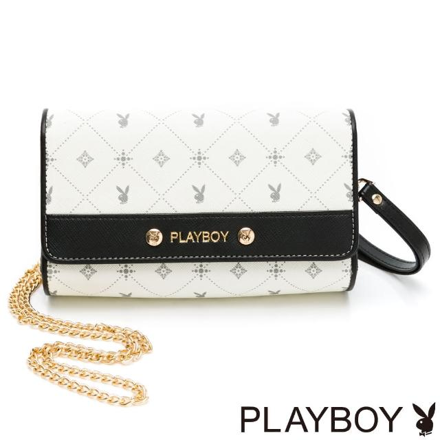 【PLAYBOY】化妝包附手挽帶與長鍊帶 白色黑晶兔系列(米白色)