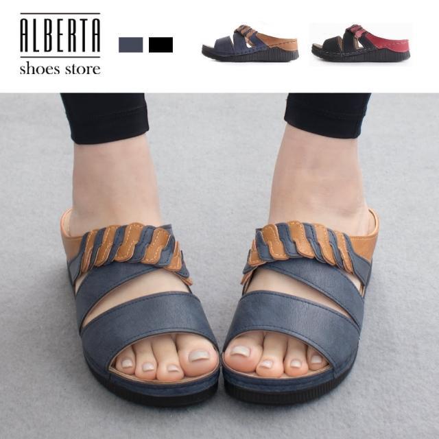 【Alberta】前2後5cm涼鞋 休閒百搭一字寬帶交叉 楔型厚底涼拖鞋