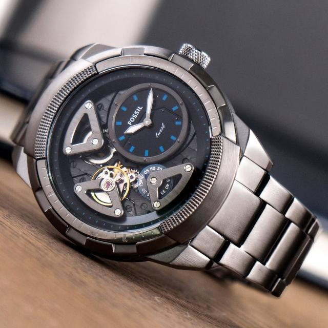 【FOSSIL】公司貨 Bronson Twist 科技感鏤空雙機芯機械石英不鏽鋼腕錶/灰 男錶(ME1171)