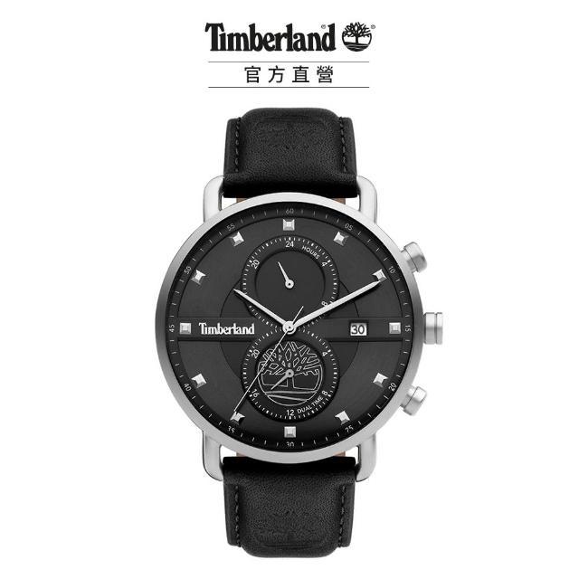 【Timberland】男款 PUTNAM系列 極簡城市腕錶 皮帶-黑/黑45mm(TDWGF2101002)