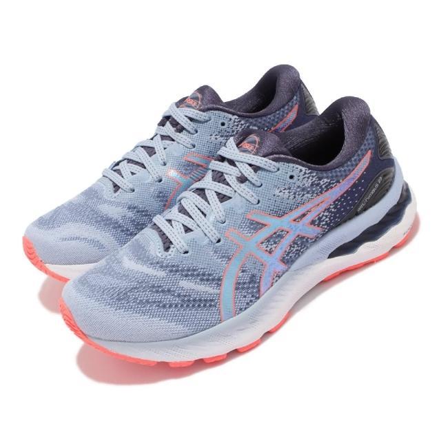 【asics 亞瑟士】慢跑鞋 Gel-Nimbus 23 D 寬楦 女鞋 亞瑟士 高緩衝 避震 支撐 亞瑟膠 藍 白(1012A884412)