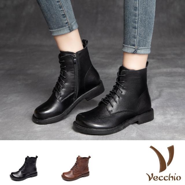 【Vecchio】真皮馬丁靴 低跟馬丁靴/全真皮頭層牛皮復古騎士風寬楦大頭低跟馬丁靴(2色任選)