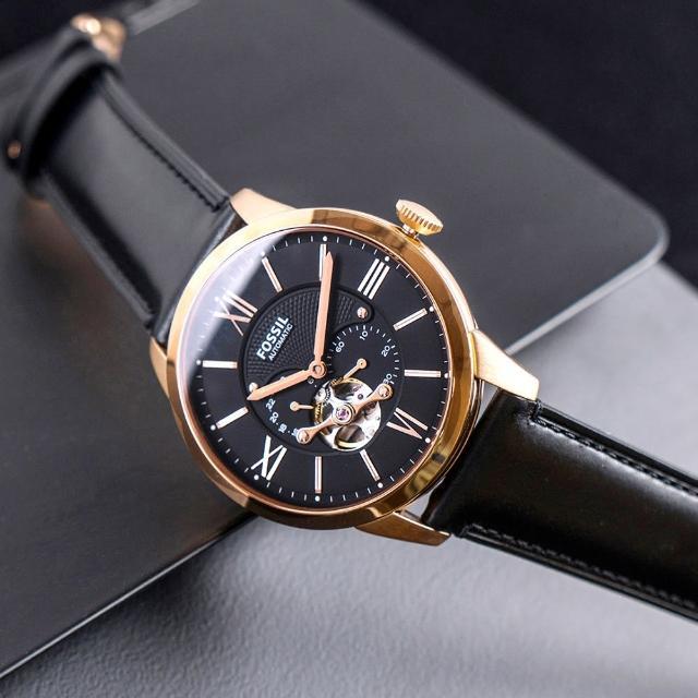 【FOSSIL】公司貨 Townsman 復古型男鏤空機械皮革腕錶/黑x金框 男錶(ME3170)