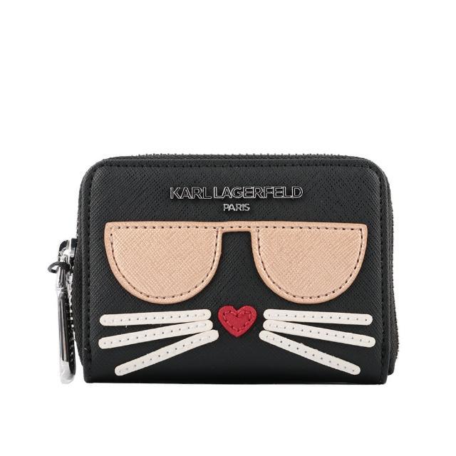 【KARL LAGERFELD 卡爾】防刮皮革墨鏡貓造型拉鍊卡片夾(黑色)