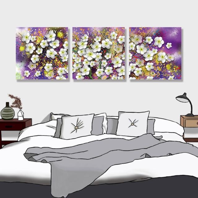 【24mama 掛畫】三聯式 油畫布 明亮 斑點 開花 藝術 美麗植物花卉 豐富繽紛 無框畫-40x40cm(大白花樹)
