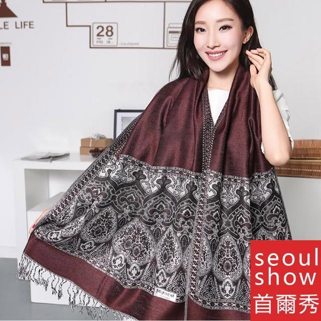 【Seoul Show 首爾秀】波西風情 純棉編織圍巾披肩 咖啡(防寒保暖)