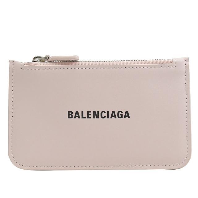 【Balenciaga 巴黎世家】品牌烙印LOGO小牛皮信用卡零錢包(淺粉)