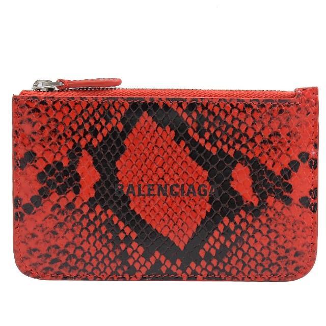 【Balenciaga 巴黎世家】品牌烙印LOGO蛇紋信用卡零錢包(紅)