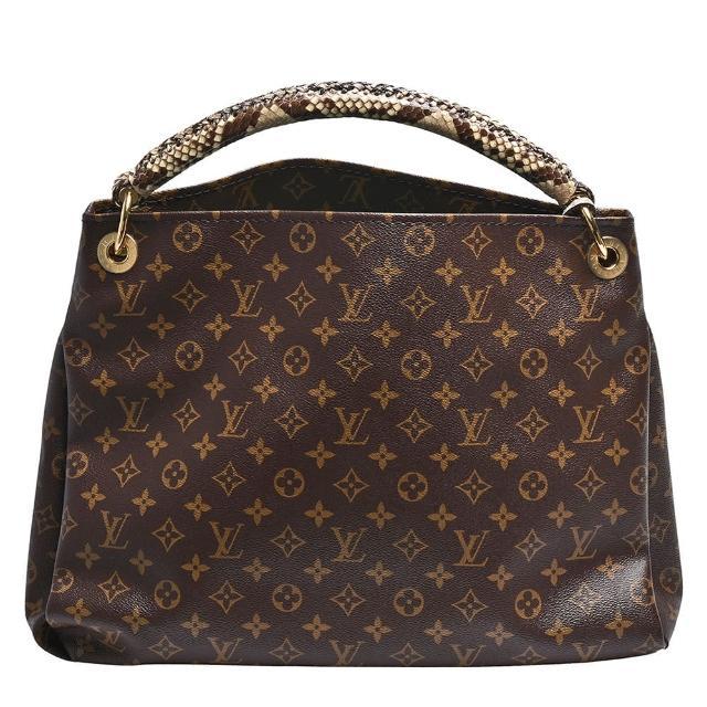 【Louis Vuitton 路易威登】N93420 ARTSY系列經典Monogram帆布莽蛇皮提把肩揹包