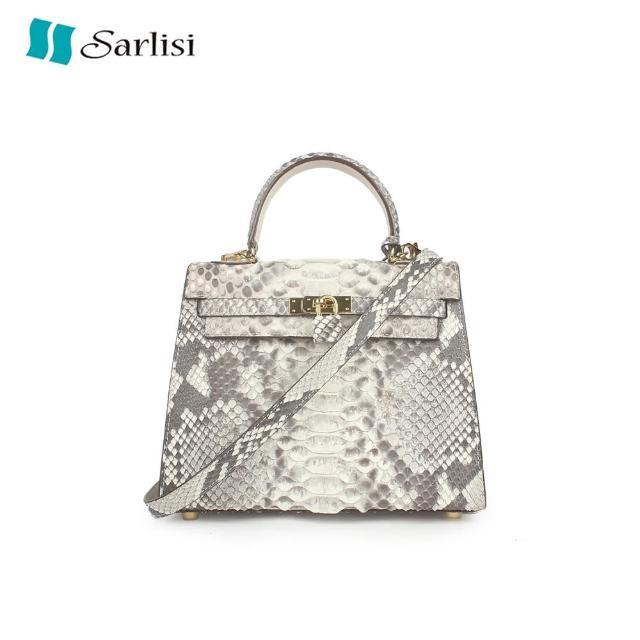 【Sarlisi】泰國進口蟒蛇皮女包凱莉包小包單肩斜背包手提包真皮小方包