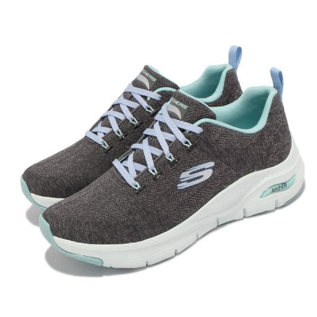 【SKECHERS】慢跑鞋 Arch Fit-Comfy Wave 女鞋 專利鞋墊 回彈 避震 穩定 支撐 灰 藍(149414-CCTQ)
