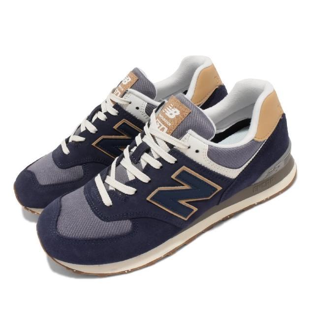 【NEW BALANCE】休閒鞋 574 復古 經典 男鞋 紐巴倫 麂皮 網布 N字鞋 穿搭推薦 藍 卡其(ML574AB2-D)