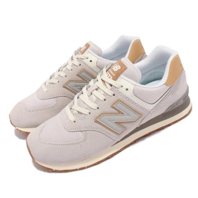 【NEW BALANCE】休閒鞋 574 復古 經典 男鞋 紐巴倫 麂皮 網布 N字鞋 穿搭推薦 灰 卡其(ML574AC2-D)