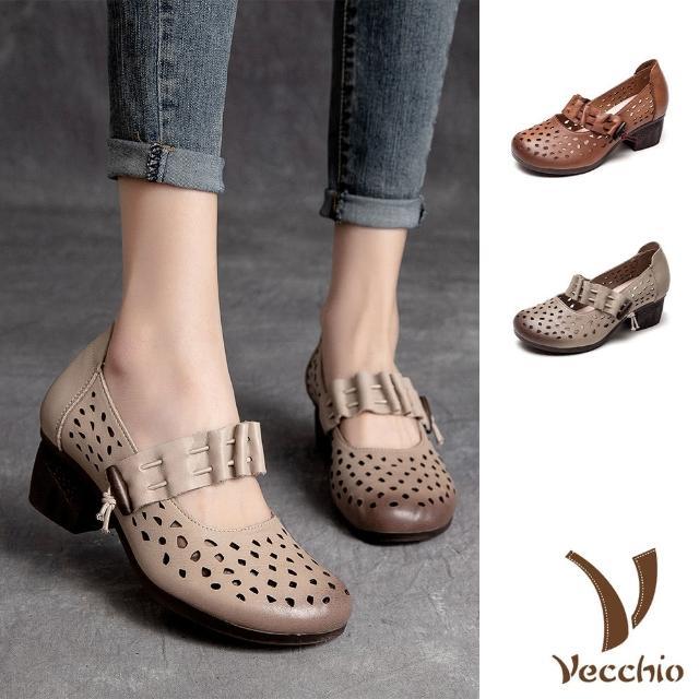 【Vecchio】真皮跟鞋 粗跟跟鞋 縷空跟鞋/全真皮頭層牛皮縷空一字帶造型粗跟鞋(2色任選)