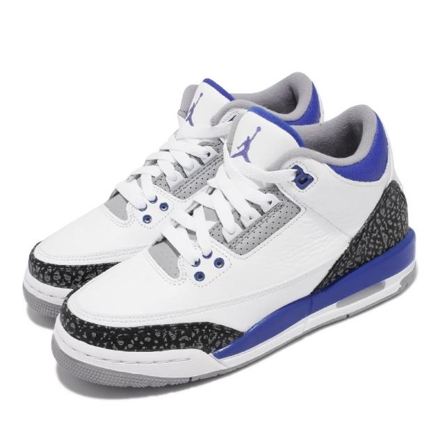 【NIKE 耐吉】休閒鞋 Air Jordan 3 Retro 女鞋 AJ3代 復刻 喬丹 爆裂紋 小閃電 白 藍(398614-145)