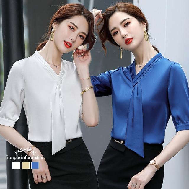 【Alishia】法式時尚氣質V領雪紡上衣 M-3XL(現+預 白色 / 黃色 / 藍色)