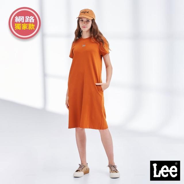 【Lee】經典刺繡小LOGO 側邊口袋 女短袖休閒洋裝-火星橘
